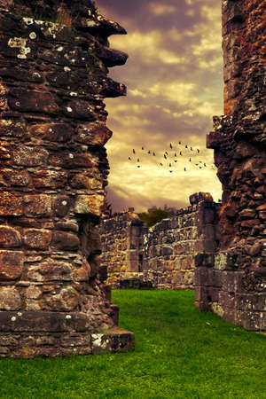 abbey: Abbey ruins with dramatic sky