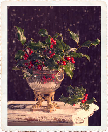 antique vase: Elegant antique vase full of holly and berries with vintage filter effect and antique border Stock Photo