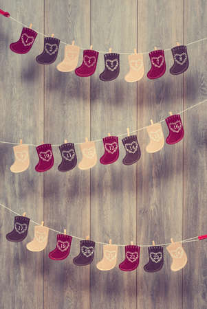 Christmas stocking advent calendar with vintage filter effect
