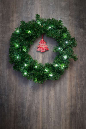 Christmas wreath with bright twinkling lights photo