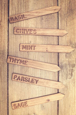 Wooden herb labels ready for spring planing Stock Photo