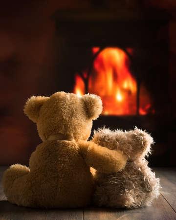 Twee teddyberen zitten bij het vuur