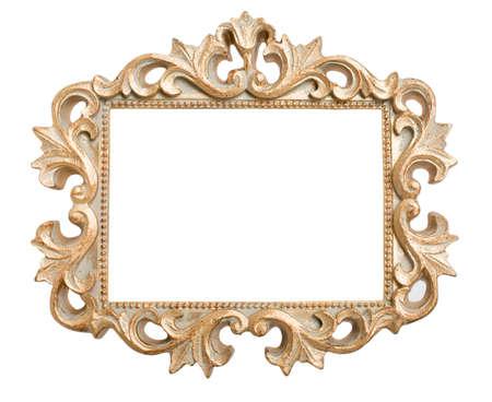 ornate gold frame: Marco de oro adornado aislado en un blanco