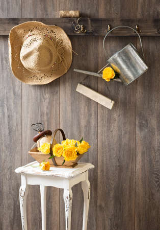 freshly picked: Freshly picked yellow roses in trug in garden shed