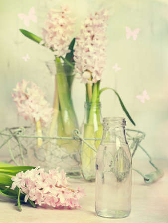 hyacinths: Spring hyacinths with focus on glass bottle filled with water ready to arrange flowers - vintage tone effect added