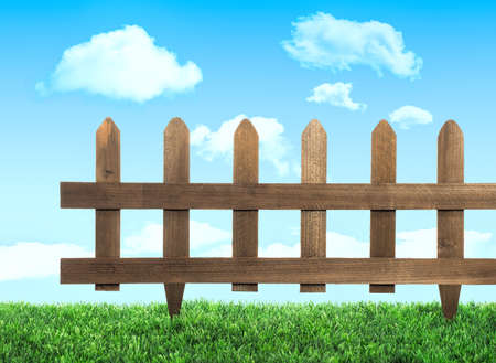 Garden fence with grass and summer sky photo