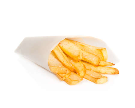 Cone of chunky fries in paper cone on a white background