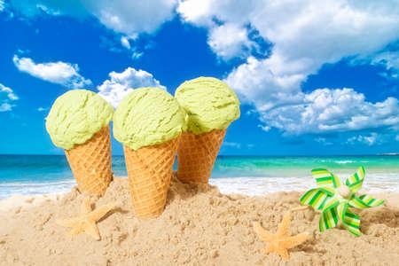 minty: Minty flavor icecreams with pinwheel on summer beach