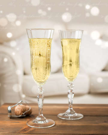 champagne cork: Celebration with two glasses of champagne