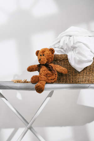 bed sheet: Close up of laundry basket full of items ready for ironing Stock Photo