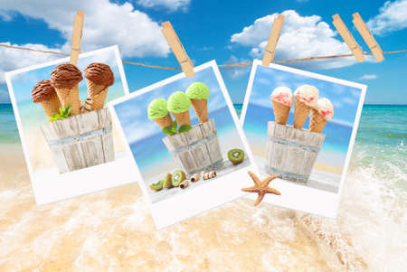 Line of icecream polaroids against a beach scene Standard-Bild