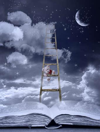 テディ オープン本のはしごを登ると就寝時の話