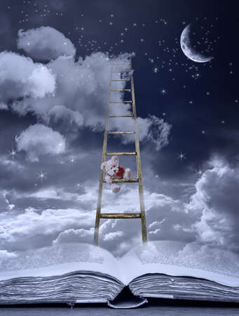childrens': Bedtime story with teddy climbing ladder out of an open book