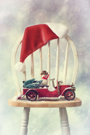 stock photo vintage red truck filled with christmas trees and funny snowman