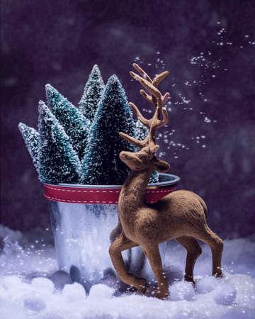 Reindeer ornamental animal figure at Christmas - vintage tone effect added photo