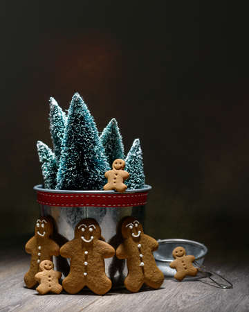 Low key image of homemade gingerbread family with Christmas trees photo