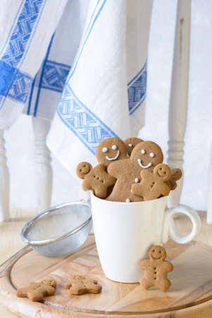 Freshly baked gingerbread biscuits photo