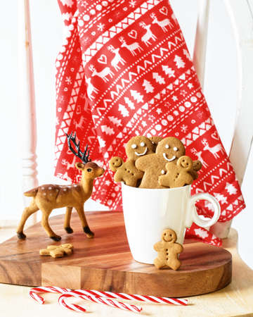 Freshly baked gingerbread cookies at Christmas photo