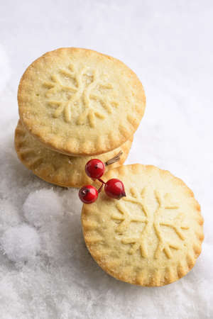 Mince pies for Christmas with snowflake decoration