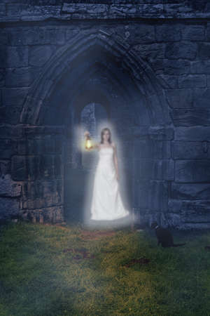 ghost woman: Ghost holding lantern in the archway of an ancient abbey