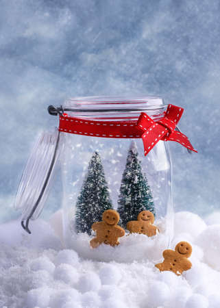 Small gingerbread biscuits in glass cookie jar for Christmas photo