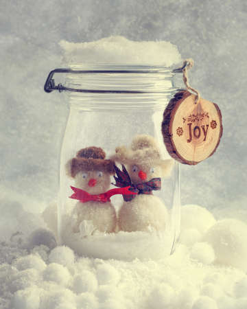snowman wood: Funny snowmen in glass jar with Christmas ribbons