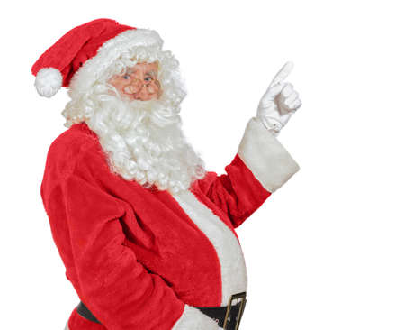 rimmed: Santa Claus pointing in gloved hand with white copy space for advertising