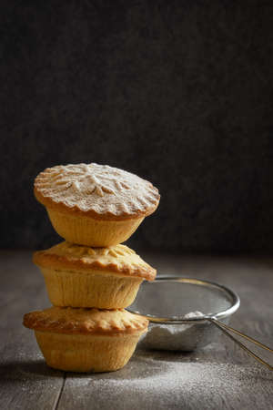 Stack of mince pies for Christmas Stock Photo