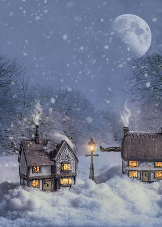 Winter cottages in country lane at night with glowing lamp light Stock Photo