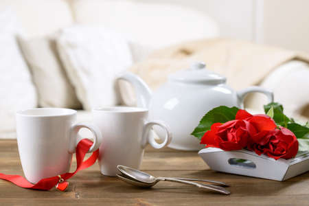 teacups: Valentines day tea for two with red roses