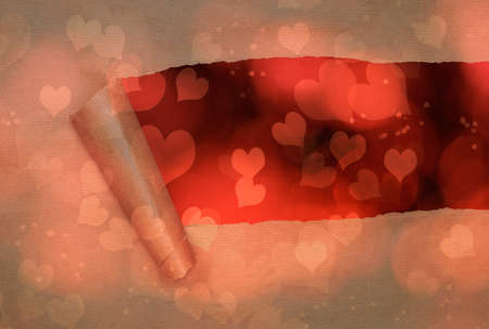 rips: Torn paper with hearts background for Valentines day