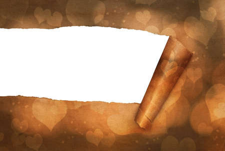 rips: Torn paper with gold hearts background for Valentines day Stock Photo