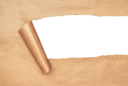 Parcel paper Torn révélant copie espace blanc