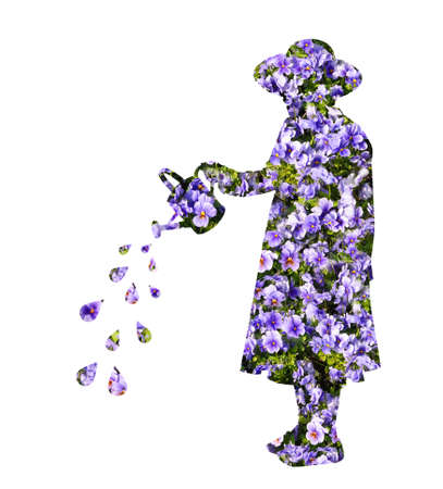 superimposed: Cut out of young girl wearing a hat superimposed with flowers