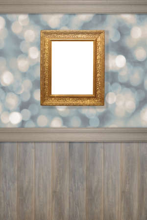 panelled: Advertising wall with antique gilt frame