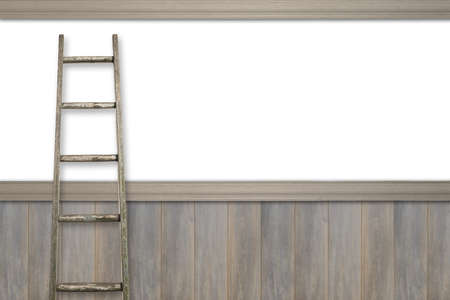panelled: Advertising space with rustic ladder against white and wooden panel wall