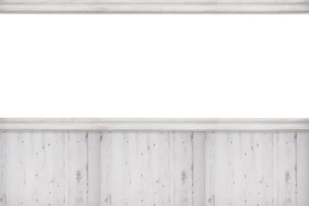 panelled: Blank advertising wall with white wooden panels