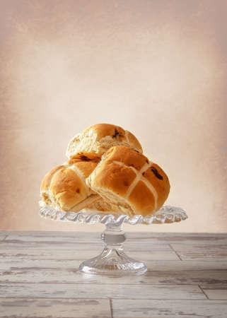 fayre: Easter Hot Cross buns on glass stand