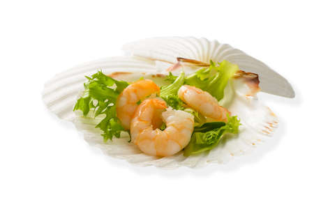 scallop shell: Prawn seafood appetizer served in scallop shell on a white background