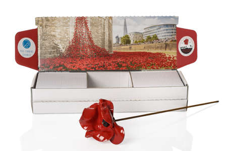 cummins: TELFORD, UK - JAN 09, 2015: A hand crafted poppy from the Blood Swept Lands & Seas Of Red art installation at the Tower Of London in 2014.  Artist Paul Cummins created the poppy installation to commemorate the Centenary of the start of the First World W
