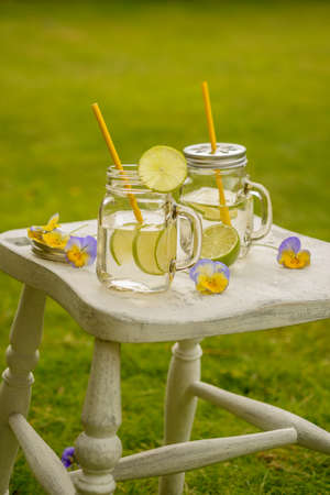 Summer drinks in glasses with straws on the lawn