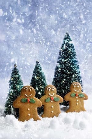 galletas de navidad: Galletas de jengibre en la Navidad en la nieve