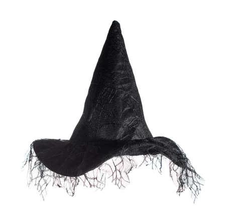 bruja: Brujas sombrero negro aislado en un fondo blanco Foto de archivo