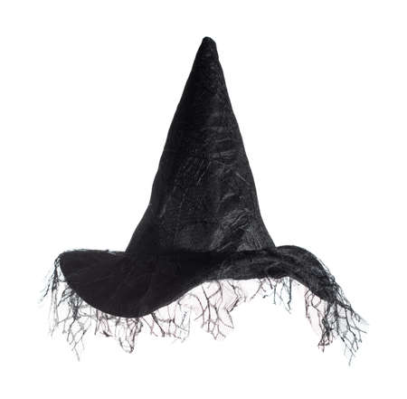 czarownica: Czarny czarownice kapelusz samodzielnie na białym tle