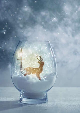 a jar stand: Snow globe for Christmas greetings card with reindeer ornament Stock Photo