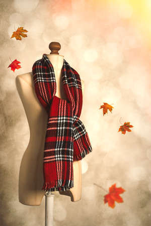 draped: Winter tartan plaid scarf with floating autumn leaves