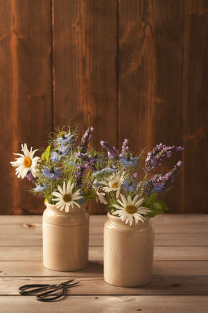 rustic kitchen: Little ceramic pots filled with flowers Stock Photo