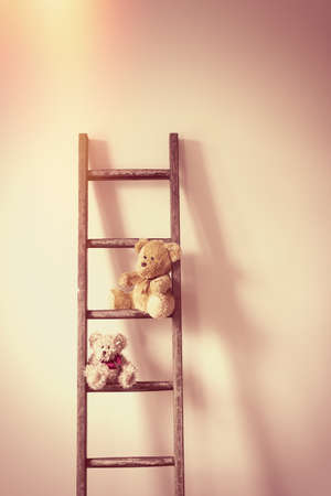 playthings: Two teddy bears sitting on a ladder against a wall