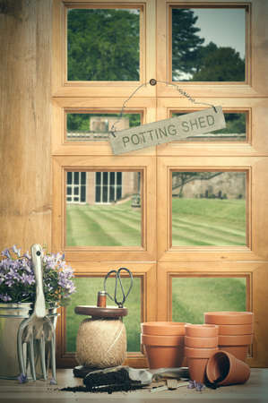potting: The potting shed with window overlooking garden