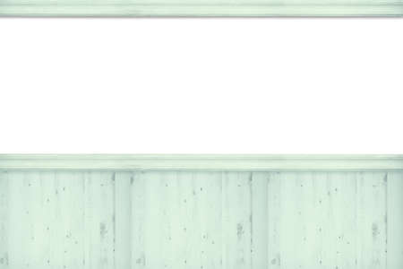 panelled: Blank advertising board with green wooden slats